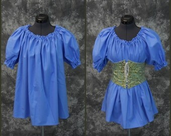 Chemise Blouse - Short Sleeved, MEDIUM - Renaissance, Pirate, Wench or Peasant Costume - Cornflower Blue - Halloween, Fall Faire, SCA, LARP