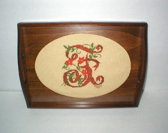 "Vintage Needlepoint Wood Tray Initial ""F"""