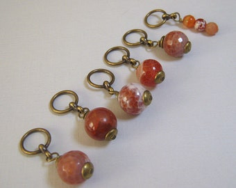 Handmade Stitch Markers - Agate (set of 6/up to size 11) (SM-13)