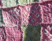 SALE  So Shabby Pink and Green  Rag Quilt Crib Toddler Bed  Size Nursery