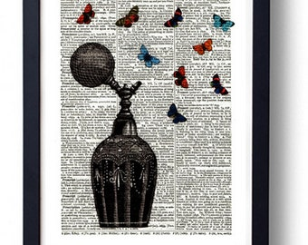 Original Art Print on A Vintage Dictionary Book Page / Perfume Bottle and Butterflys / Butterflies