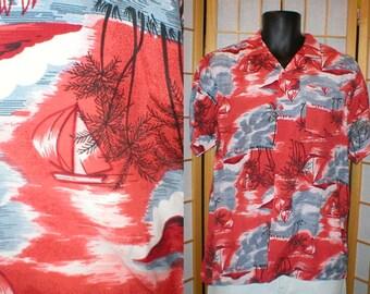 50s rayon Hawaiian print shirt mens size medium