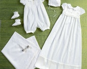 CHRISTENING GOWN PATTERN - Baptism - Dedication Gown Or Romper / Boy Or Girl / Bonnet - Booties - Blanket