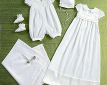 CHRISTENING GOWN PATTERN - Baptism - Dedication Gown Or Romper / Boy Or Girl / Bonnet - Booties - Blanket