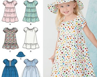 TODDLER DRESS PATTERN / Fun Summer Clothes For Girls - Pullover Dress - Hat / Size 1/2 to 4 / Easy