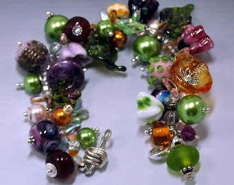 Multi-colored Floral and Pearl Fancy Bracelet