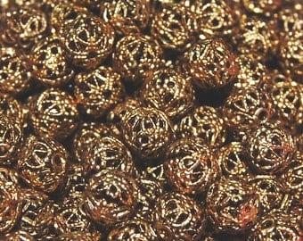 Vintage 24 Brass Filigreed 8MM Beads H4L