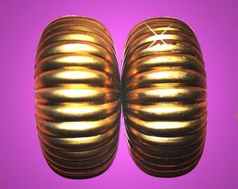 Vintage 4 HUGE  Brass Ribbed Caterpillar Findings 46X26MM GR7