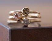 Natural Champagne Diamond Stacking Ring- 14kt