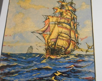 Clipper Ship print, 1930s nautical art, Vintage sailing ship N B Palmer, vintage art