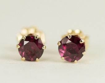14k Gold Gemstone Studs - Solid 14k Gold Earrings, 5mm Gemstone Post Earrings