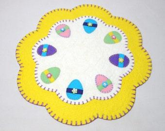 """15"""" Easter Egg Design Penny Rug"""