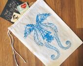 "GIFT BAG / 8x11"" - SEAHORSE  Hand Printed Drawstring Reusable Cotton Bag"