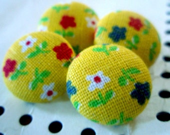 Buttons - Dutch Flowers Yellow Fabric-Covered Buttons - You Choose the Size - Cute Little Red White & Blue Posies - Custom Fabric Button Set