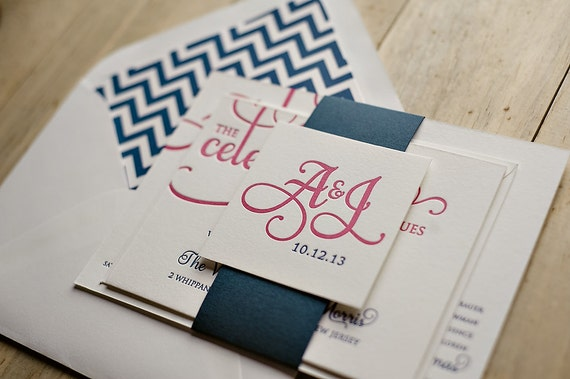 Pink & Navy Chevron Letterpress Calligraphy Wedding Invitation - SAMPLE (Adele)