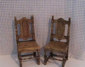 Tudor dollhouse chairs, country chairs, two chairs,  twelfth scale,  dollhouse miniature