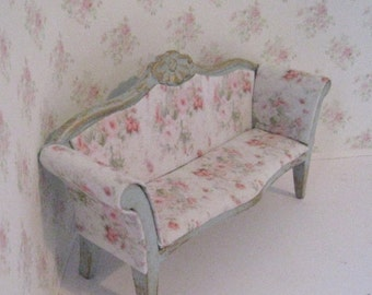 Dollhouse sofa, duck egg blue, sofa, rosebud sofa,,  dollhouse miniature, twelfth scale