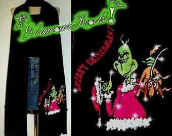 The Grinch Grinchmas Christmas Xmas Rhinestone Crystal Scarf American Apparel Tri-Blend Black Scarf