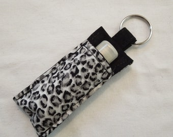 Chap Stick Holder, Lip Balm key chain, chapstick case, lip stick, Lipbalm case cozy- Gray Black Simba Leopard