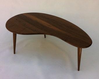 Mid Century Modern Coffee Table - Solid Walnut Kidney Bean Cocktail Table - Eames Era Boomerang Amoeba Design w/ Tapered Walnut Legs