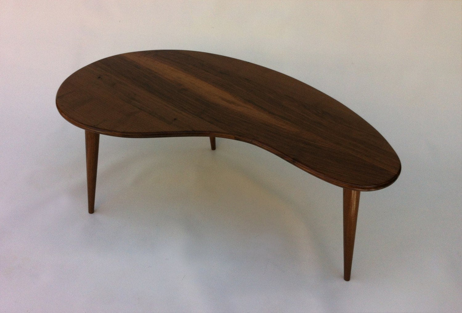 Mid Century Modern Coffee Table Solid Walnut Kidney Bean By