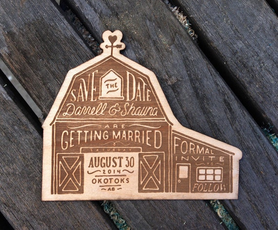 Laser Cut Wood Wedding Invitations: Wood Save The Dates Laser-Cut And Laser-Etched With Your