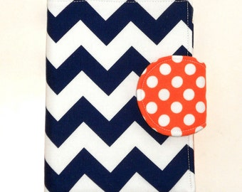Nook Glowlight Plus Case, Kindle Fire HD Cover, Tennessee Virginia Navy Chevron Tangerine Dot Auburn eReader Cover