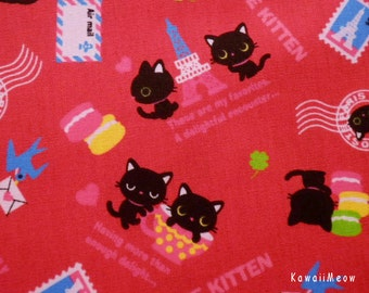 Kawaii Japanese Fabric - Love Kittens Red - Half Yard - (ta131113)