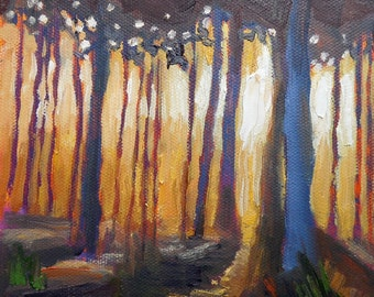 """Small Oil Landscape, Daily Painting, Small Oil Painting, Into the Woods by Carol Schiff, 6x6x1.5"""" original oil"""