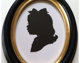 5 x 7 inch Black Oval Wood Silhouette Frame