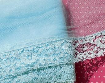 Vintage Lace Trim Vintage Lingerie Trim Light Blue Sheer Nylon