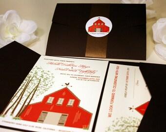 Red Barn Wedding Invitations Sample, Rustic Wedding Invitation Printable, Country Invitation Vintage Wedding Fall Wedding Invite, Pocketfold
