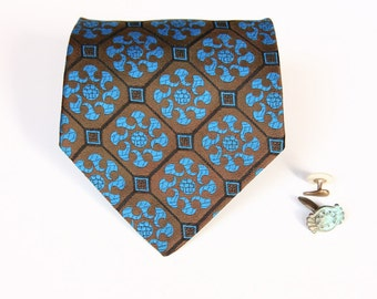 Blue & Olive Necktie - Vintage Green and Cerulean Tie