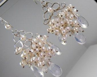 Bridal Jewelry Handmade Wedding Chandelier Earrings Wire Wrap Pearls Sterling Silver Pearl Cluster Chandelier Earrings