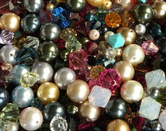 50 or 100 pc SWAROVSKI Mixed Color Bead Lot 4mm 6mm 8mm Crytals and Pearls FREE US Shipping
