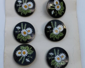 Vintage Cloisonne Buttons NOS on card Black with White Flowers Made in Japan