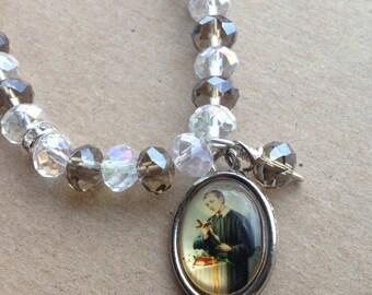Bracelet with St. Gerard Majella Medal - Patron Saint of Motherhood - San Gerardo Mayela, El Santo de la Maternidad, Maternity, Pregnancy