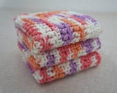 Cotton Dishcloths, Crocheted. Rose Pink, Creamsicle Orange, Lavender, and White.