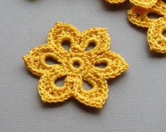 3 Crochet Flower Appliques -- 2 inch Diameter, in Goldenrod Yellow