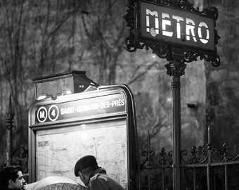 Rainy evening on St Germain Des Pres, Classic Paris, umbrella, Paris Metro, black and white photography, Paris Art, french decor