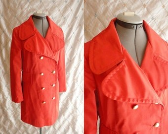 60s Raincoat // 60s Coat // Vintage 1960s Red Orange All Weather Rain Coat with Gold Buttons by Brittany Bay All Weather Coats Canada Size