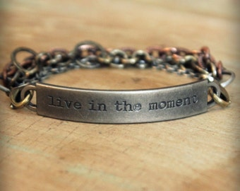 "2pc Indie Inspirational Quote Interchangeable Bracelet ... ""Live in the moment"""