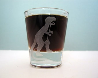 T-Rex Tyranosaurus Dinosaur | Etched Shot Glass