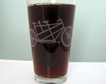 Two Seater Bicycle Sandblasted Etched Pint Glass