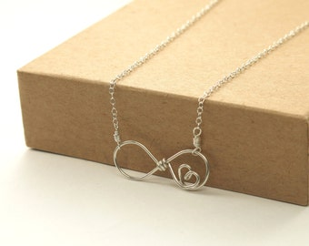 Eternal Love Necklace . sterling silver infinity necklace . bride, bridesmaid, bff, sisters, wedding gift