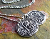 Wax Seal Initial Necklace Silver Wax Seal Monogram Necklace Personalized Jewelry Initial Necklace Vintage Inspired Pendant Eco Friendly