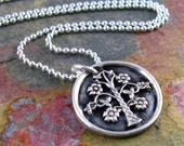 Family Tree Necklace Mother Of The Bride Necklace Silver Tree Of Life Necklace PMC Artisan Jewelry Silver Grandmother's Necklace Under 50