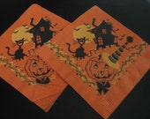 2 Vintage Halloween Napkins With Black Cat, Jack O Lantern With Hat, Scary Old House