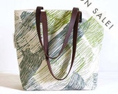 silk screened tote bag - Wind Waves - green