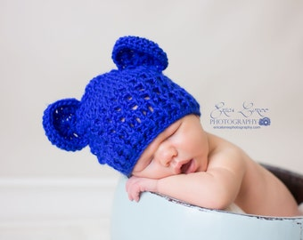 Baby Boy Hat, Newborn Boy Hat, Royal Blue Hat, Crochet Baby Hat with Ears, Baby Hat, Bear Hat, MADE TO ORDER, Royal Blue